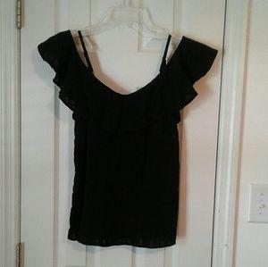 Old Navy black ruffled cold shoulder top